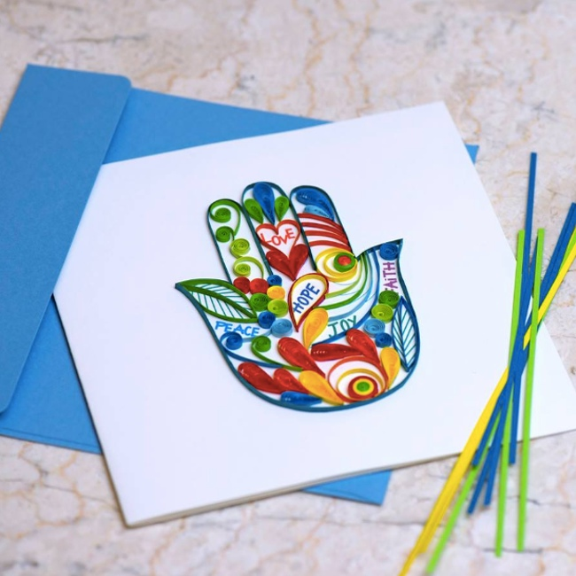 hamsa hand quilling card making