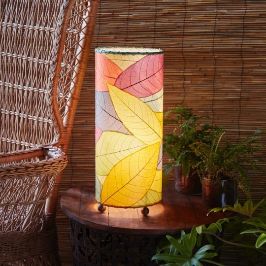 multi cocoa leaf table lamp styled