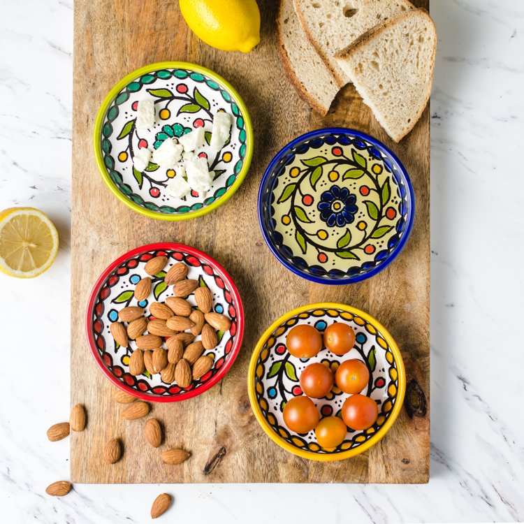 ceramic painted appetizer plates styled