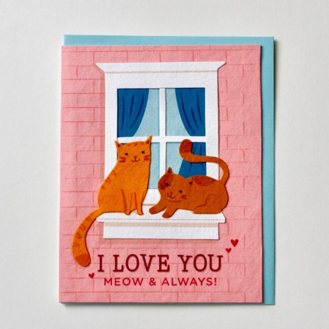 meow and always cat love card
