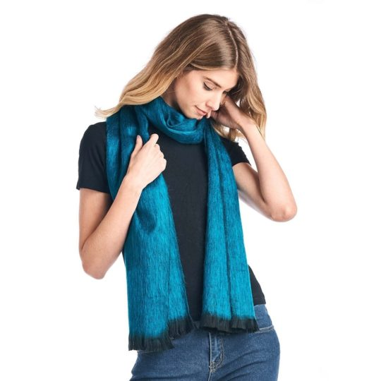 midnight turquoise alpaca scarf model