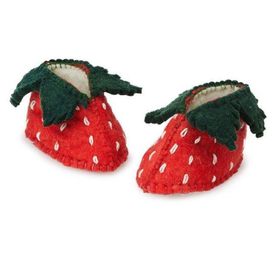 strawberry felt baby shoes