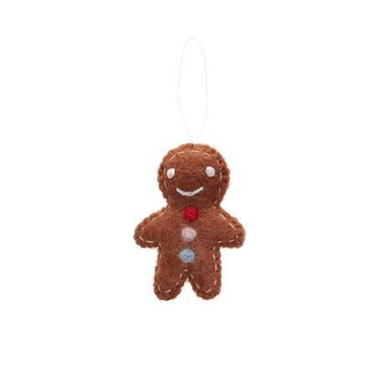 felt gingerbread man ornament-brown