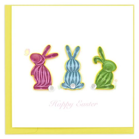 happy easter bunnies quilling card