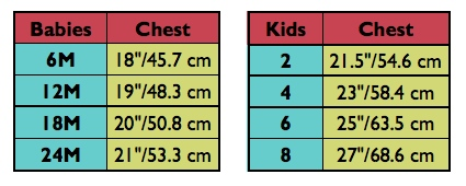 global mamas kids size chart