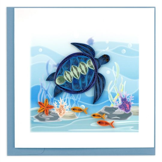 blue sea turtle quilling card