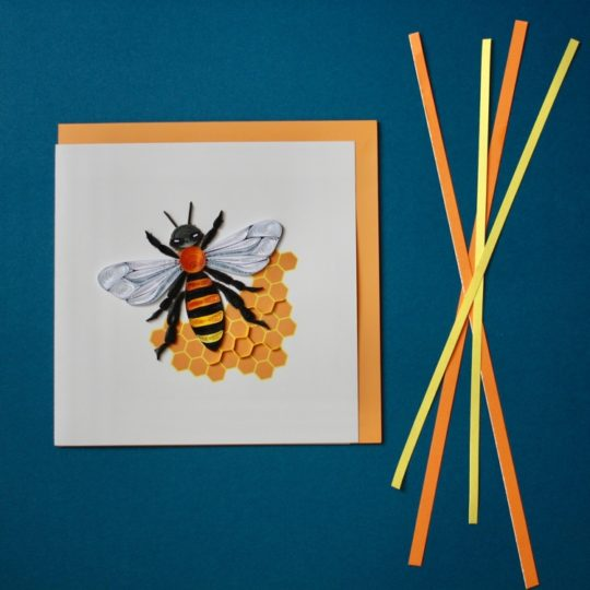 honey bee quilling card styled