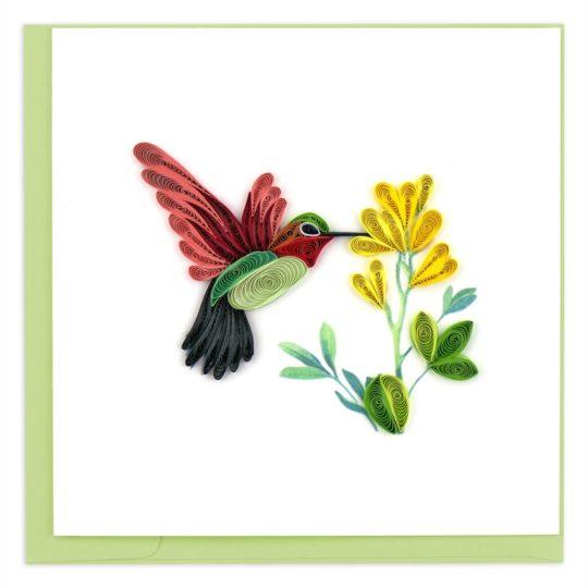 hummingbird quilling card