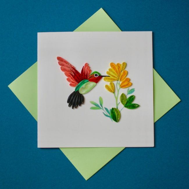 hummingbird quilling card styled