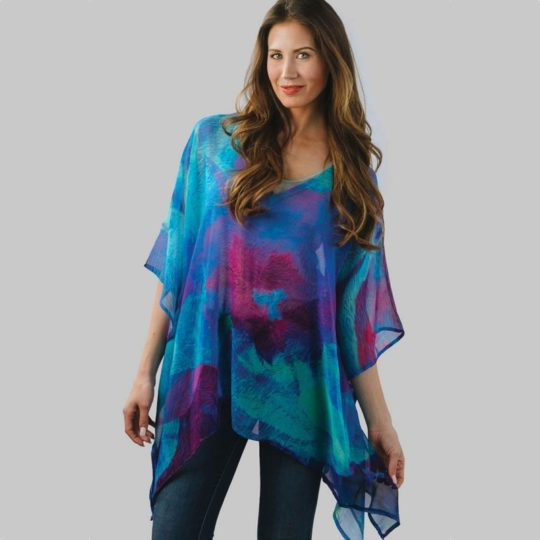 kumari cotton poncho blue