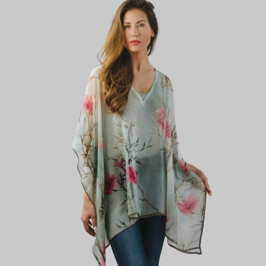 kumari cotton poncho orchid floral