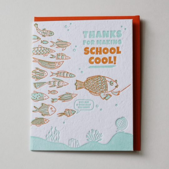 teacher thank you card school of fish