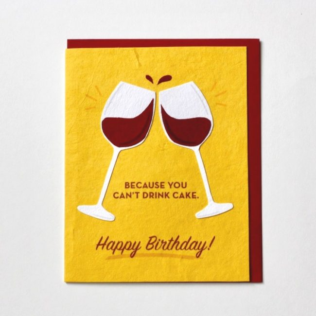 wine bday card