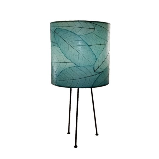 metal tripod leaf table lamp blue