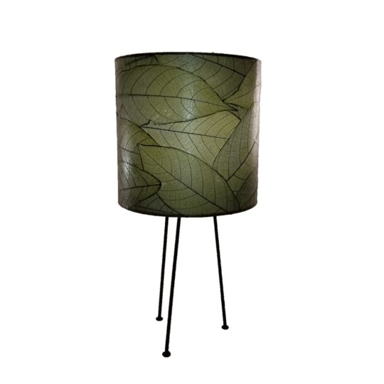 metal tripod leaf table lamp green