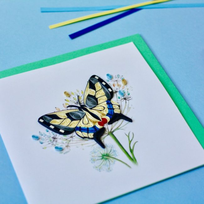 swallowtail quilling card styled close