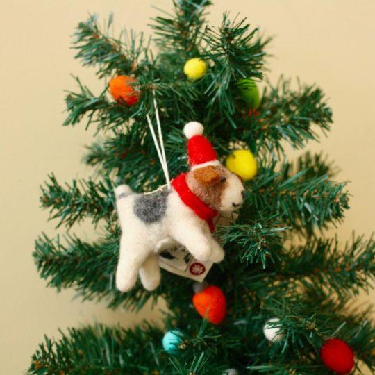 felt beagle ornament styled