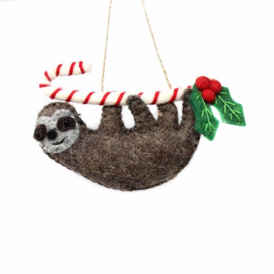 felt candy cane sloth ornament
