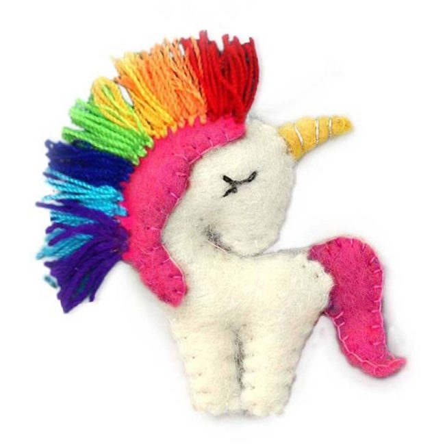 felt rainbow unicorn ornament