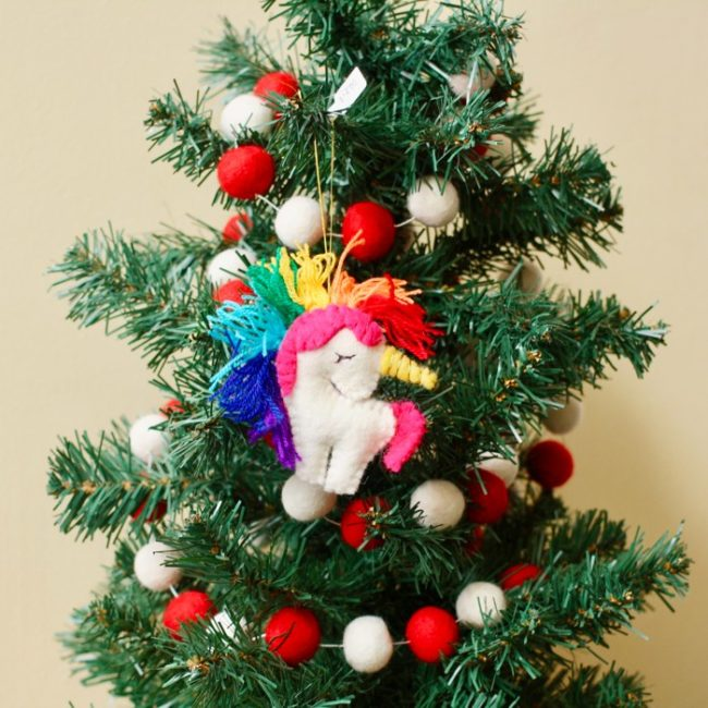 felt rainbow unicorn ornament styled