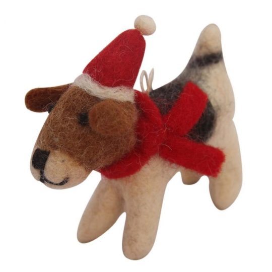 felt santa beagle ornament