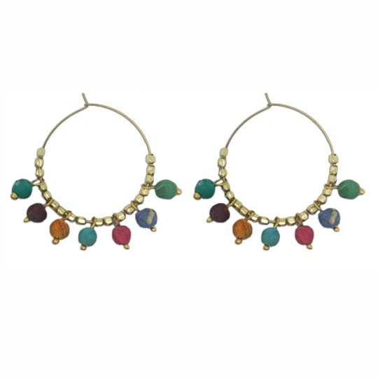 kantha bauble hoop earrings