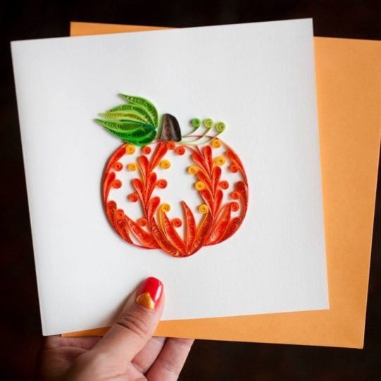 pumpkin quilling card
