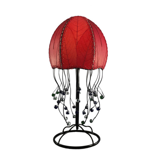 red jellyfish leaf table lamp