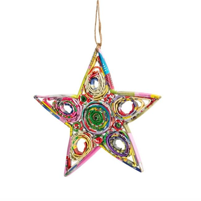 recycled paper star ornament