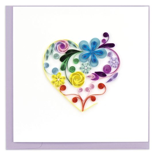 floral rainbow heart quilling card