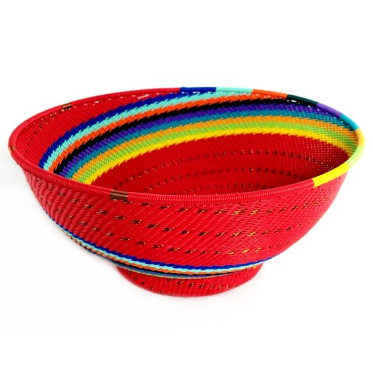 red rainbow telephone wire large bowl