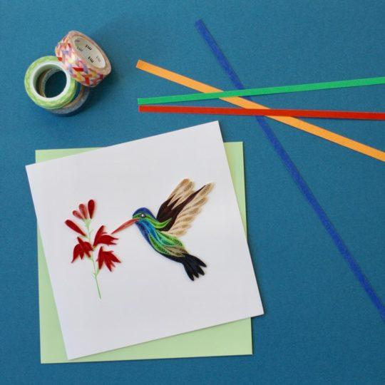broad billed hummingbird quilling card styled