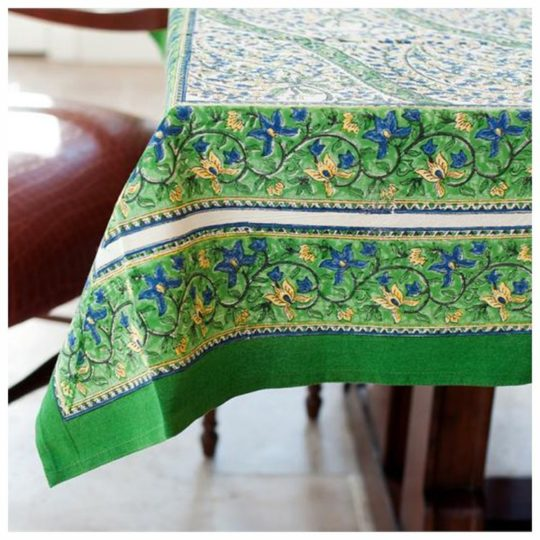 green paisley square tablecloth