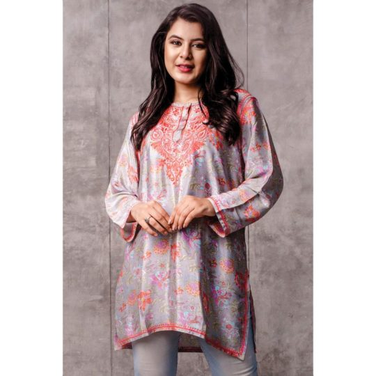 deena embroidered tunic peach & silver