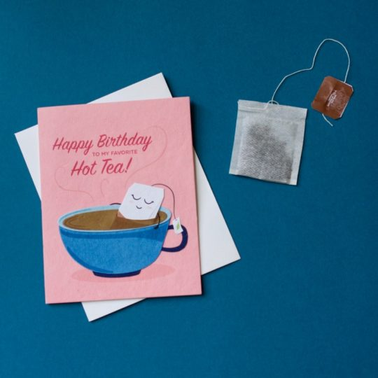 hot tea birthday card styled
