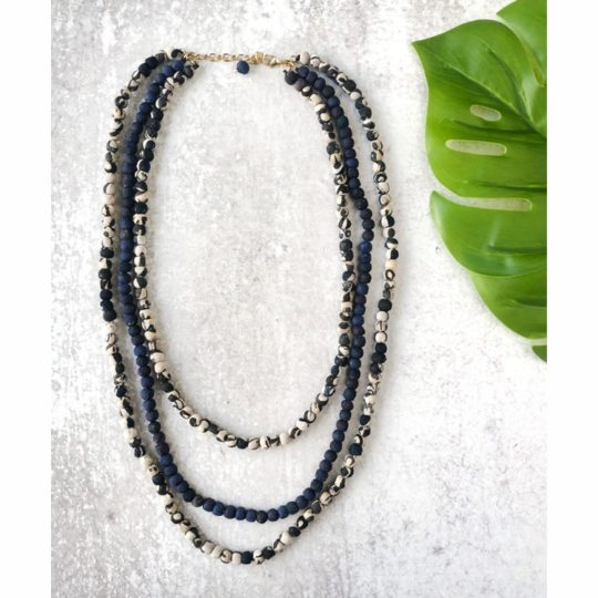 kantha indigo layered necklace styled