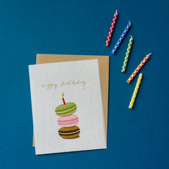 macaron birthday card styled