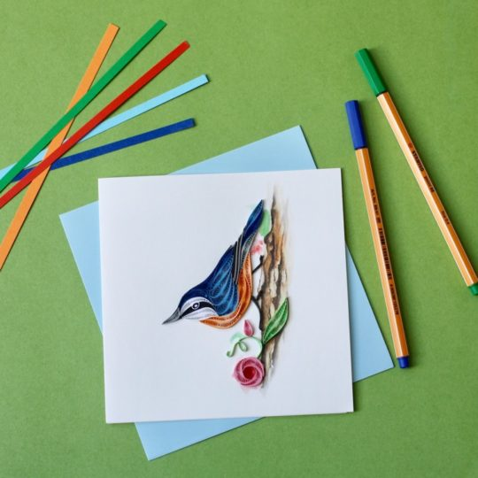red breasted nuthatch quilling card styled