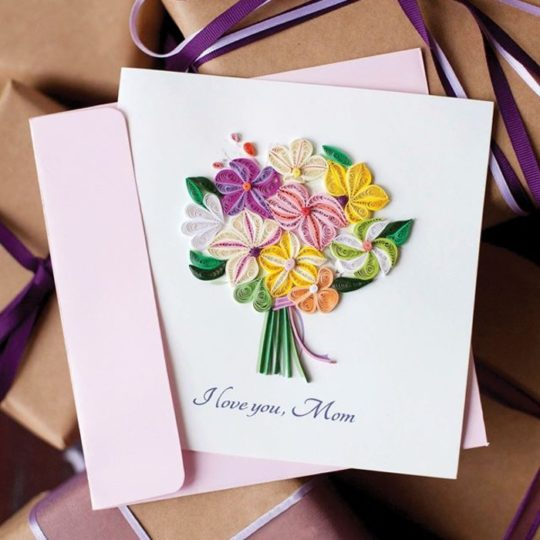 bouquet quilling card mothers day