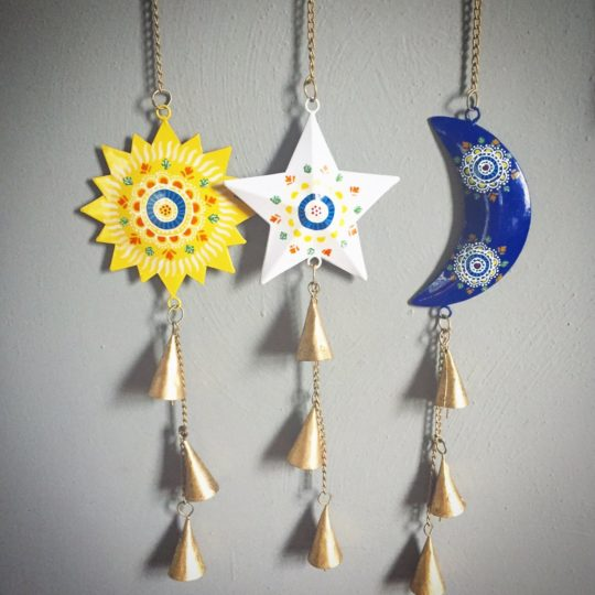 cosmic trio recycled metal chimes