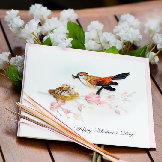 mothers day quilling card birds