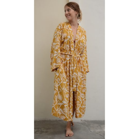 frangipani turmeric kimono robe 1