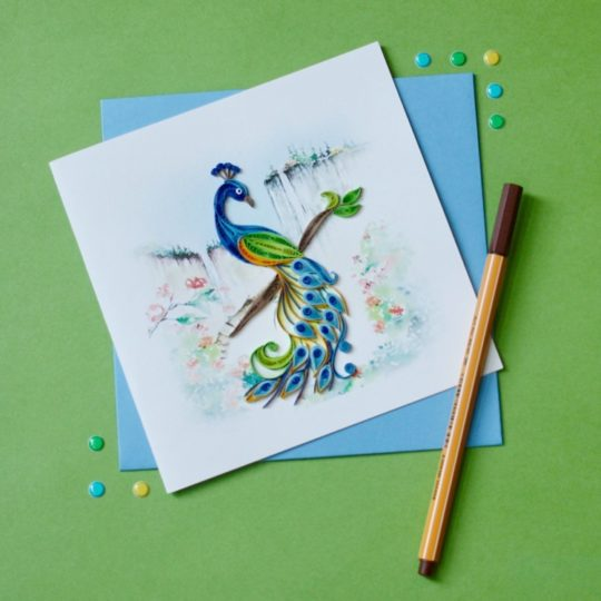 posing peacock quilling card styled