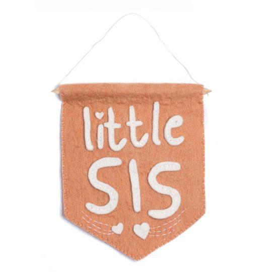 little sis felt banner flag