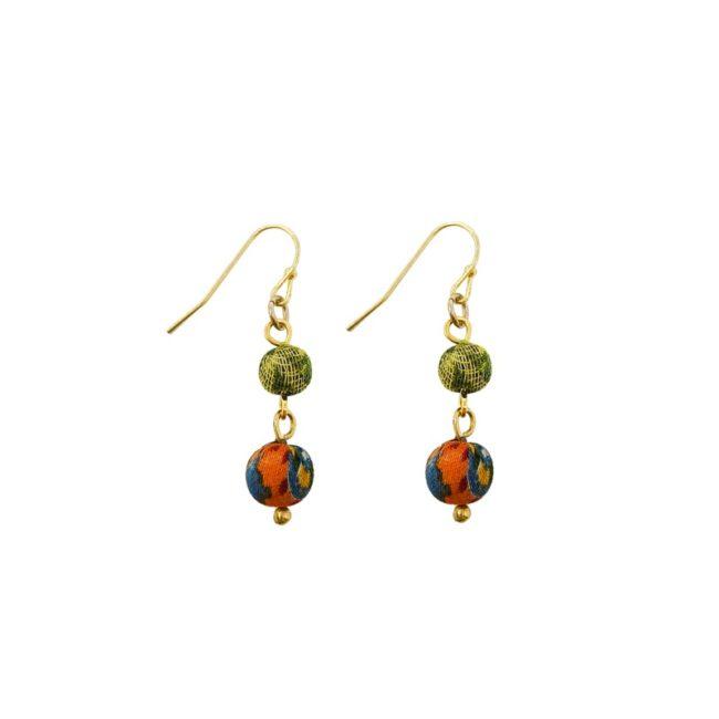 Kantha double drop earrings