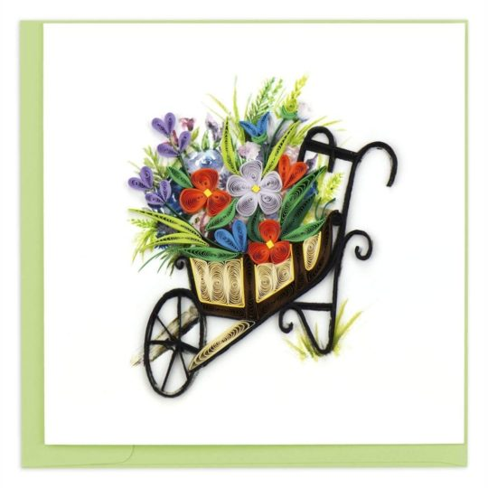 wheelbarrow garden quilling card