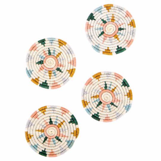 Nyota Metallic Floret Coasters white bkgd