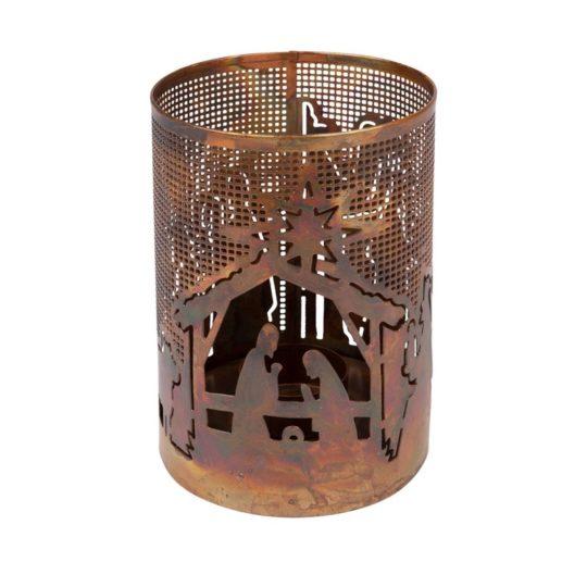 bright nativity iron lantern