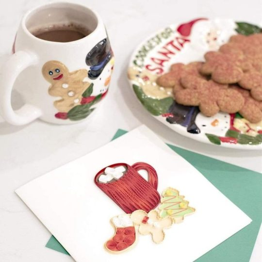 christmas cookies quilling card 1