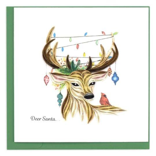 deer santa quilling card